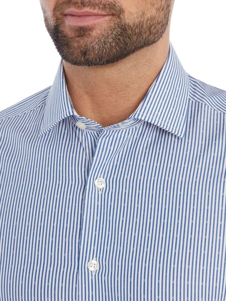 Richard James Mayfair Ls Sc Dobby Stripe Shirt