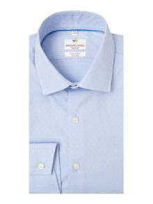 Richard James Mayfair Ls Sc Circle Dobby Blue Shirt