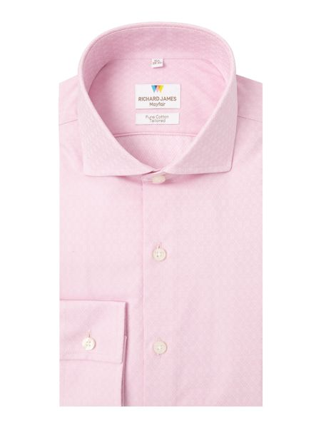 Richard James Mayfair Ls Sc Pink Diamond Cross Shirt