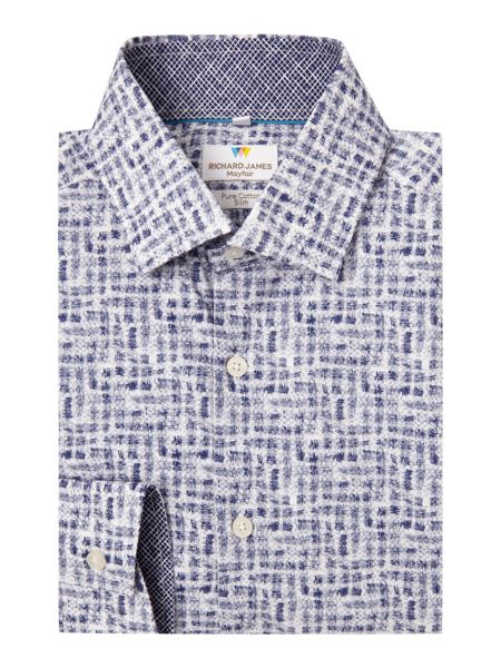 Richard James Mayfair Ls Printed Leaves Checks Sc Shirt