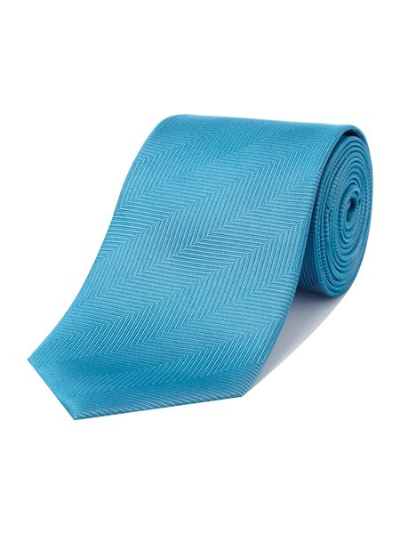 Richard James Mayfair Aqua Herringbone Tie