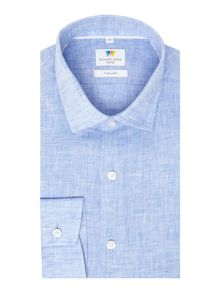 Richard James Mayfair L/S Blue Linen Shirt S/C Shirt