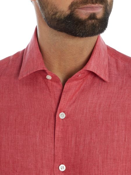 Richard James Mayfair L/S Coral Linen Shirt S/C Shirt