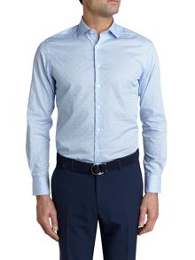 Simon Carter L/S Sf Clipped Gingham Cutaway Shirt