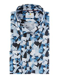 Blue Abstract Triangle Shirt