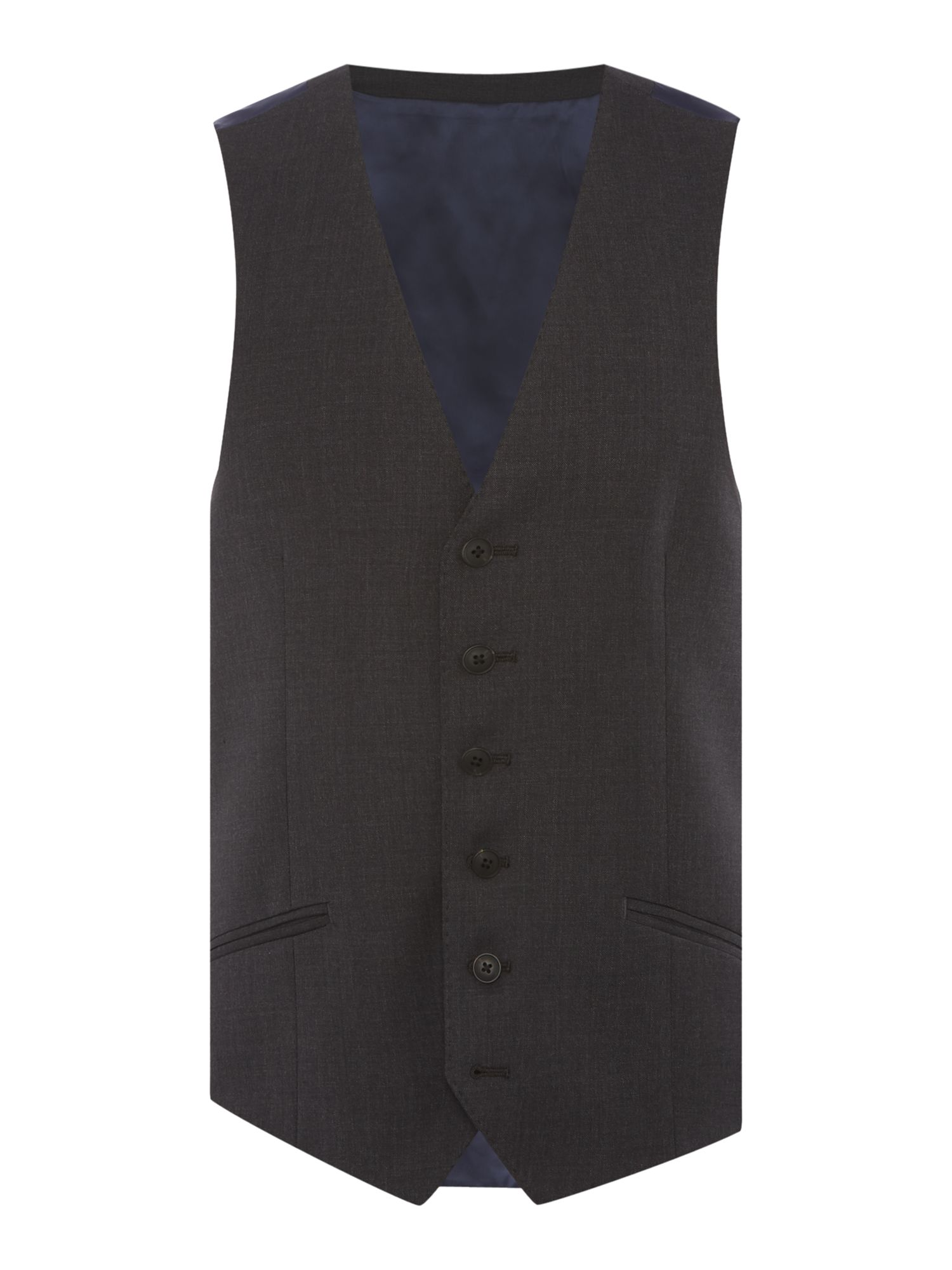 Men's Richard James Mayfair Charcoal Pic N Pic Waistcoat, Charcoal