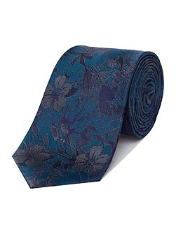 Teal Blooming Silk Tie