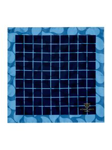 Richard James Mayfair Silk Double Print Grid Hankie