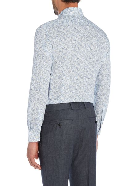 Richard James Mayfair Blue Triangle Geometric Print Shirt