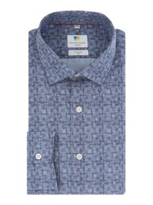 Richard James Mayfair Blue Linear Fan Print Shirt