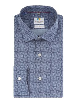 Blue Linear Fan Print Shirt