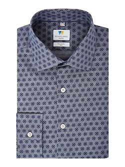 Chambray Printed Slim Fit Shirt