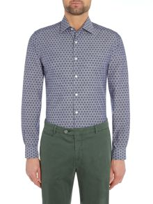 Richard James Mayfair Chambray Printed Slim Fit Shirt