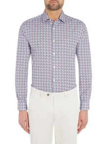 Richard James Mayfair Tile Print Slim Fit Shirt