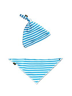 Babies Stripe Hat And Bib Set