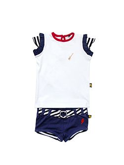 Kids Embroidery Tee and shorts set