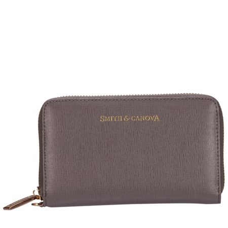 Smith & Canova Triple section zip round wristlet purse