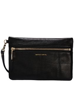 Zip top clutch bag