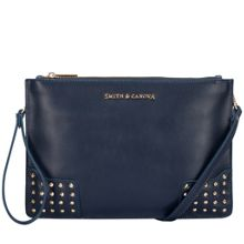 Smith & Canova Dahl corner stud zip top clutch bag