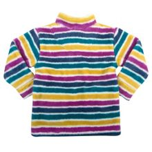 Girls stripy zip neck fleece
