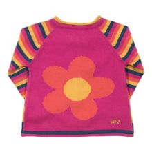 Baby girls stripy flower cardi