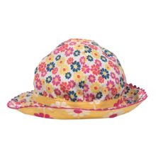 Baby girls reversible flower hat