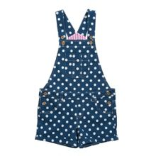 Girls spotty dungaree shorts