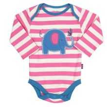 Baby Girls Stripy elephant bodysuit
