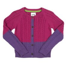Girls Two-tone cable cardi