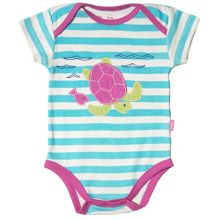 Kite Baby girls Stripy turtle bodysuit