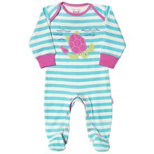 Kite Baby girls Stripy turtle sleepsuit