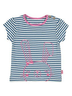Baby girls Bunny stripe t-shirt