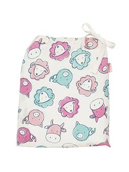 Girls Farmyard organic cotton swaddle