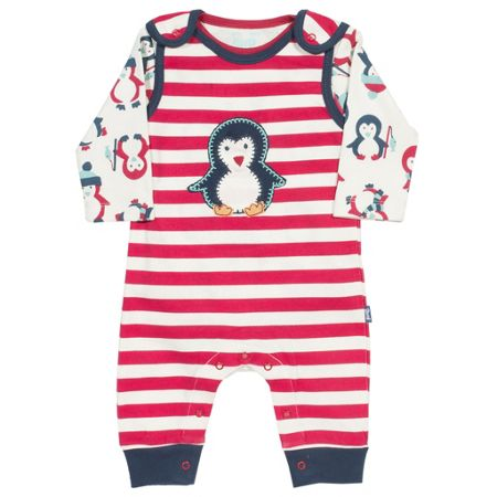 Kite Baby Penguin dungaree set