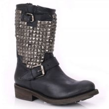 Trash Studded Leather Boots