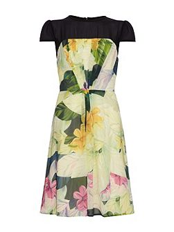 Painted Floral Silk Dress