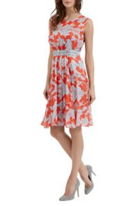 Leaf Print Chiffon Dress