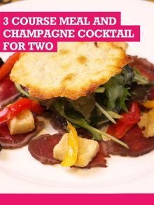 Buyagift Three Course Meal and Champagne Cocktail for Two