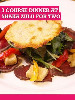 3 Course Dinner At Shaka Zulu For Two