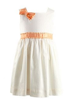 Girls ribbon trim pin dot dress