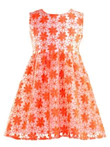 Girls neon embroidered flower dress