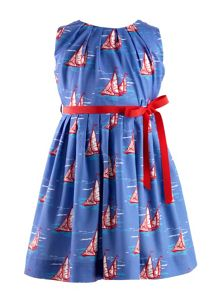 Girls sailboat pleated dress