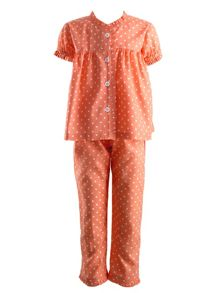 Girls polka dot frill pyjamas