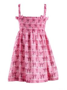 Rachel Riley Girls flamingo print ruched dress