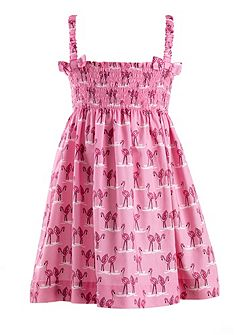 Girls flamingo print ruched dress