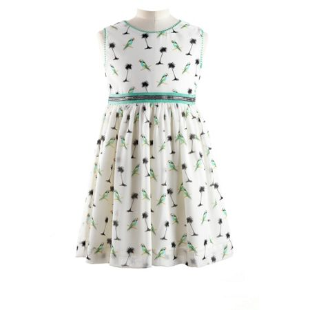 Rachel Riley Girls parrot organza dress