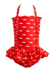 Girls fish ruched swimsuit
