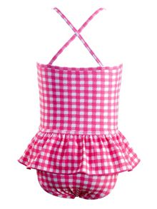 Girls gingham bow front swimsuit