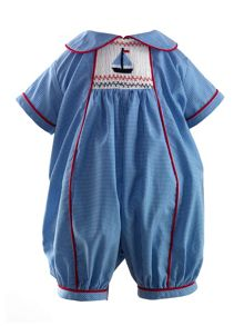 Baby boys sailboat smocked babysuit