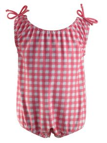 Rachel Riley Baby girls gingham beach onesie
